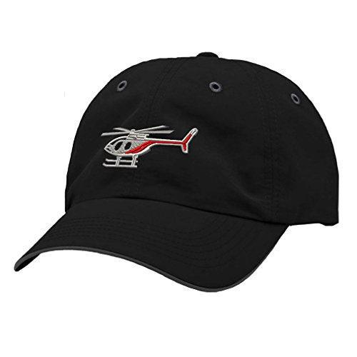 Helicopter Hats (Helicopter Style 2 Embroidery Design Richardson Polyester Water Repellent Cap Black/Charcoal)