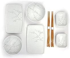 Happy Sales 8 Piece Japanese Cherry Blossom Dinnerware Set White  sc 1 st  Amazon.com & Amazon.com: Holiday - Dinnerware Sets / Dining \u0026 Entertaining: Home ...