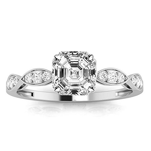 1.15 Ctw 14K White Gold GIA Certified Asscher Cut Petite Curving Diamond Engagement Ring, 1 Ct D-E SI1-SI2 - Asscher Engagement Diamond Ring