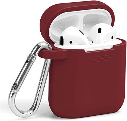 MXVOLT Compatible with AirPods Case, Silicone Protective Shockproof Wireless Charging Airpods Earbuds Case Cover Skin with Keychain Set, Women Girls Men, for Apple AirPods 2 & 1 Ð Burgundy