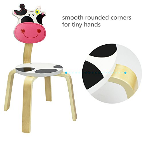 iPlay, iLearn Kids Wood Stacking Chair, Cute Cow Seat for Indoor, Outdoor, Playroom, Time Out, Classroom, Daycare, School Learning Furniture Round Stool for 2, 3, 4, 5 Year Olds Up Child, Boy, Girl by iPlay, iLearn (Image #2)