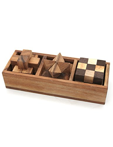 Puzzle Adult (3-in-One Wooden Puzzle Games Set - 3D Puzzles for Teens and Adults - Includes Wood Interlocking Blocks, Diagonal Burr, and Snake Cube in Storage Box by ShalinIndia)