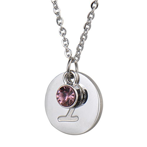 - HUAN XUN Personalized Silver Initial Necklace Letter I with Birthstone