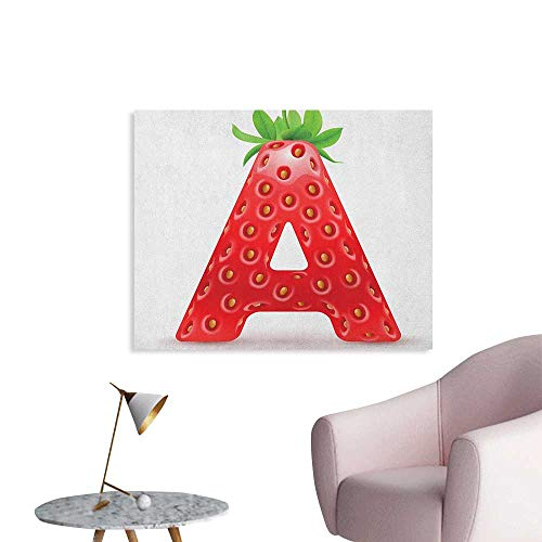 Anzhutwelve Letter A Wallpaper Letter A in Strawberry Style with Green Leaves Alphabet Fun Food Theme Art Poster Vermilion Green Orange W32 -