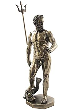 11.75 Inch Greek Figure Poseidon with Trident Decor Gift Objet D Art