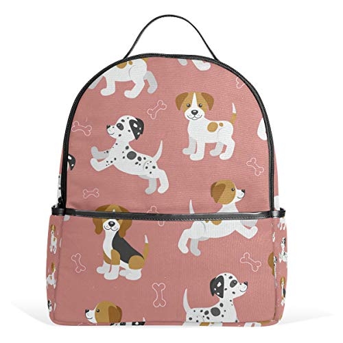 Jack Russell Beagle - Puppies Beagle Dalmatian Jack Russell Tterrier Pink Backpack for Women Teen Girls Purse Fashion Bag Bookbag Children Travel College Casual Daypack Boy Preschool Homecoming Back to School Supplies Mini