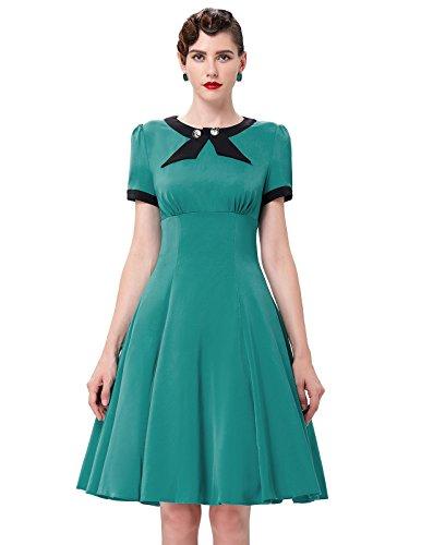 Short-Sleeve-1950s-Vintage-Dresses-for-Women