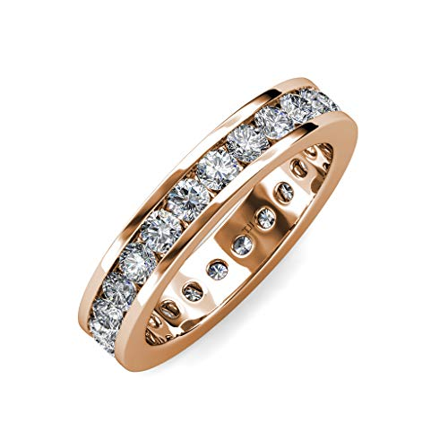 trijewels Diamond 3mm Channel Set Womens Eternity Band 1.71 ctw to 2.07 ctw in 14K Rose Gold.Size 4.75 ()