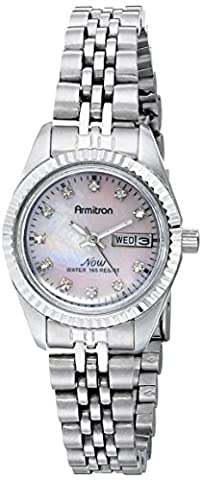 Armitron Women's 75/2475PMSV Swarovski Crystal Accented Silver-Tone Pink Mother-of-Pearl Dress (Watch With Date)