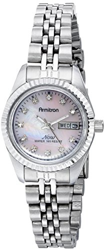 Armitron Women's 75/2475PMSV Swarovski Crystal Accented Silver-Tone Pink Mother-of-Pearl Dress Watch (Mother Of Pearl Womans Watch)