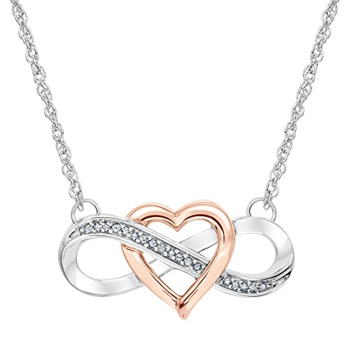 Two-Tone Interlocking Heart Infinity Pendant 1/15ctw