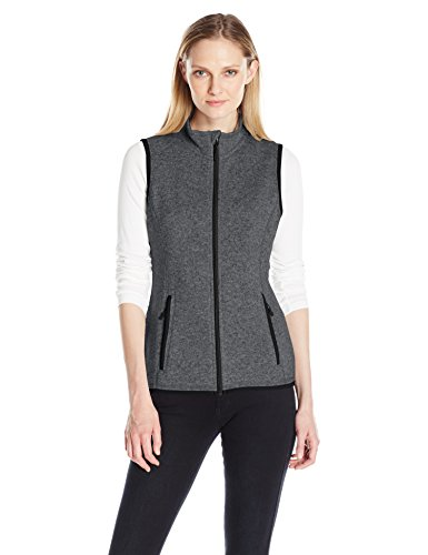 Charles River Apparel Women's Pacific Heathered Sweater Fleece Vest, Charcoal, M