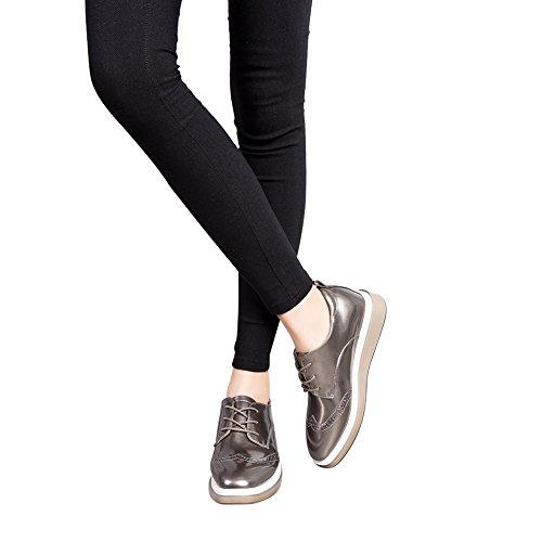 Jamron Mujer Brillante Suave Falso Cuero de Patente Cuña Zapatillas Comodidad Creepers Brogue Encajes Gris