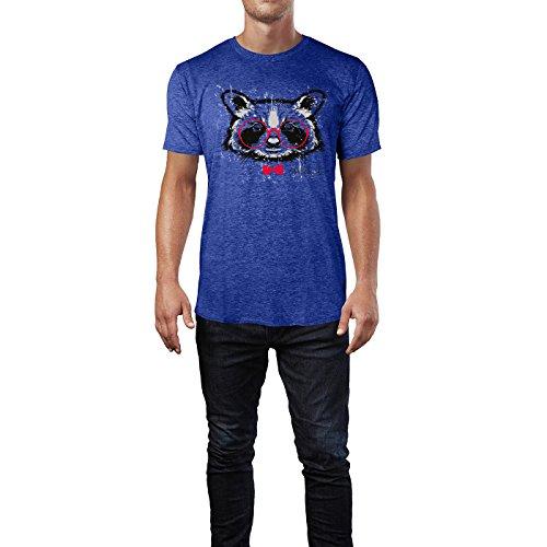 SINUS ART ® Waschbärenkopf mit roter Brille und Fliege Herren T-Shirts in Vintage Blau Cooles Fun Shirt mit tollen Aufdruck