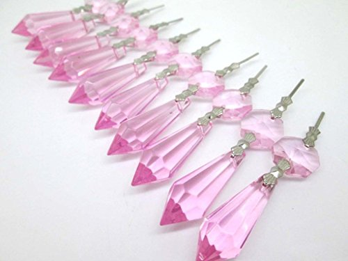 TStoy Chandelier Icicle Crystal 38mm, Pack of 20 (Pink)