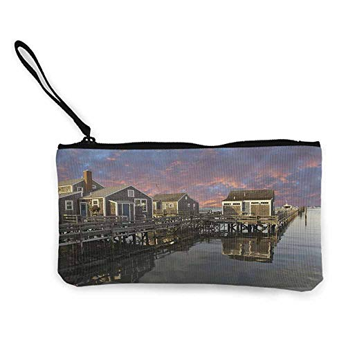 United States,Cosmetic Bags Sunset over Nantucket Massachusetts Dramatic Sky Clouds Pond Houses W 8.5