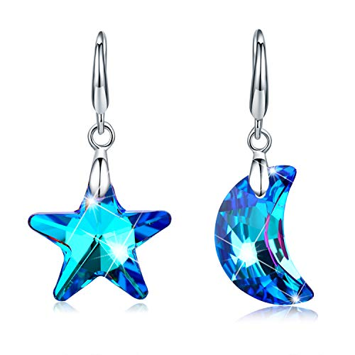 (Tacther.H Moon And Star Earrings For Women Blue Swarovski Crystals Dangle Hook Earrings Jewelry )
