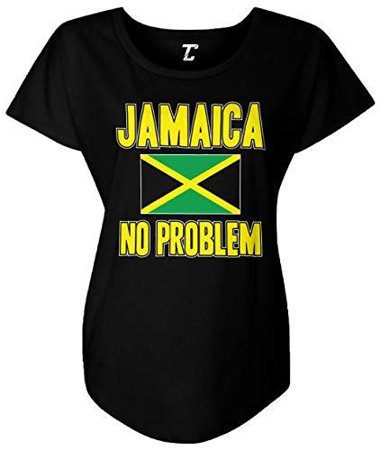 Jamaica No Problem - Jamaican Flag Rasta Women's Dolman (Black, Medium)