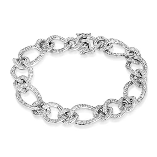 NATALIA DRAKE 1/2ctw Genuine Diamond Sterling Silver Diamond Interlocking Oval Link Bracelet (7.5