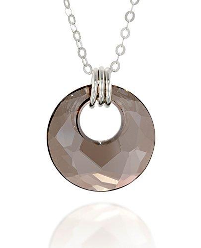 Swarovski Satin Pendant - Stera Jewelry Circle Pendant Made with Original Swarovski Satin Gray Crystal 925 Silver Necklace, 18