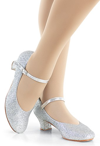 Balera Shoes Girls Character Shoes For Dance Womens Heels With Glitter And 1.5 Inch Heel Silver 9AM from Balera