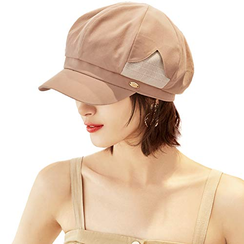 - Womens Packable Beret Newsboy Cap for Ladies Spring Summer Gatsby Adjustable Cabbie Visor Khaki Hat
