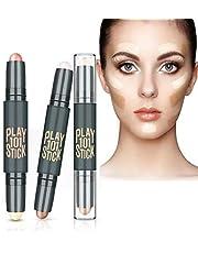 Contour Stick, Concealer Contour, Face Highlighters, 6 Colour Make up Concealer contouring Stick, Makeup Double-end Highlight Professional Makeup Wonder Stick, Conceal, Highlight & Contour, 3PCS