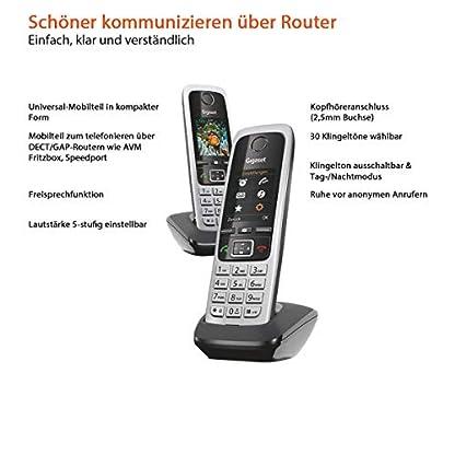 Gigaset C430HX Duo – 2 schnurlose IP-Telefone (zum Anschluss an Router oder Basisstationen - klassische Mobilteile mit Farbdisplay und HD-Voice) schwarz-silber 2