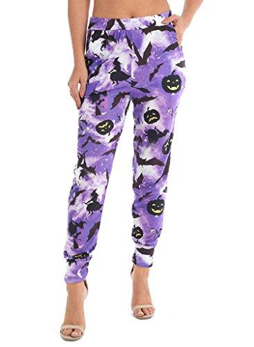 Spider Halloween Costume Pattern (Rimi Hanger Womens Halloween Costume Spider Web Pattern Ali Baba Pocket Harem Trouser Leggings Purple Lilac Medium)