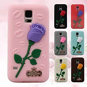 GX 3D Rose Pattern Silicon Rubber Soft Case for Samsung Galaxy S5 I9600 (Assorted Colors) , Red