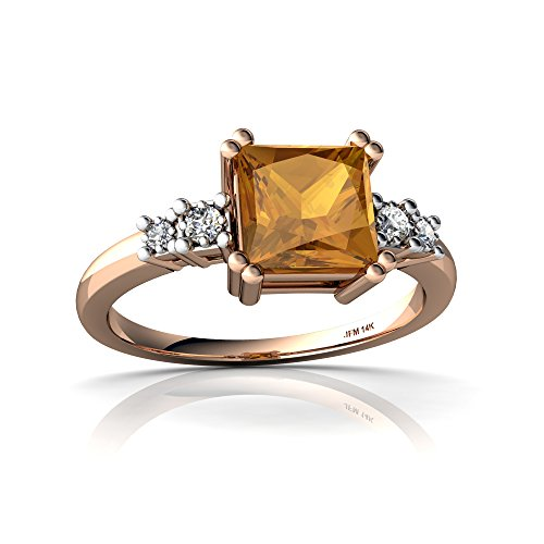 14kt Gold Citrine and Diamond 6mm Square Art Deco Ring