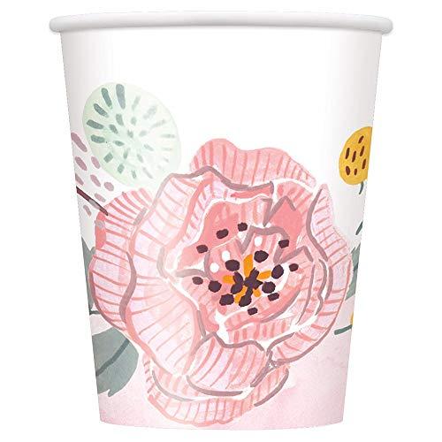 Unique Painted Pink Floral Party Paper Cups, 9 Oz, 8 Ct, Multicolor (72556)