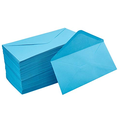 (Business Envelopes - 200-Pack #10 Envelopes, Standard V-Flap Envelopes for Holiday, Office, Checks, Invoices, Letters, Mailings, Windowless Design, Gummed Seal, Aqua Blue, 4-1/8 x 9-1/2 Inches)