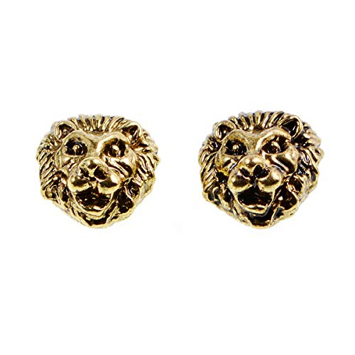 (10pcs Solid Metal Lion, Sparta, Dragon, Wolf Bracelet Necklace Connector Charm Beads Silver Gold (12x12mm Lion Head, Vintage Gold))