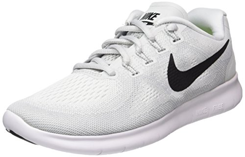 NIKE Womens Free RN 2017 Running Shoe White/Black/Pure Platinum 7 (Sole Double Sock)