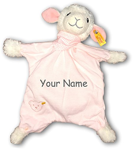 Personalized Steiff Sweet Dreams Lamb Baby Girl Pink Striped Comforter Snuggle Blanky Baby Blanket - 13 - Steiff Ball