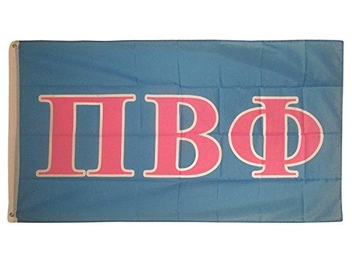 Pi Beta Phi Light Blue/Light Pink Letter Sorority Flag Greek