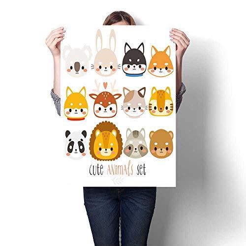 Art Canvas Prints Twelve Animal Fox Rabbit Husky Shiba Inu Deer cat Panda Canvas,28