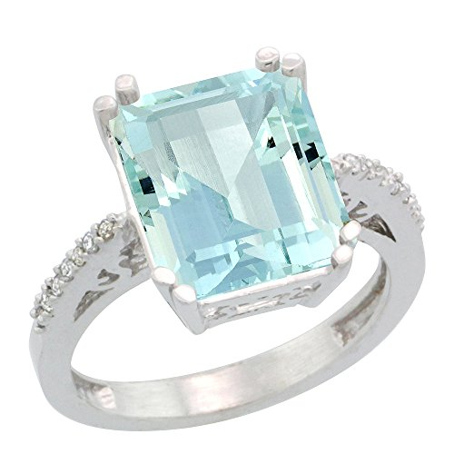 (10K White Gold Diamond Natural Aquamarine Ring Emerald-cut 12x10mm, size 7.5)