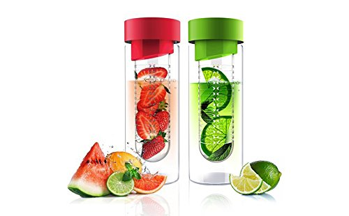 Fruit Infuser Glass Flavor it Water Bottle For Naturally Flavored Water by Asbou 20 Oz (2 Pack) Red Lime