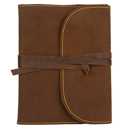 Rustic Town Handmade Refillable Leather Journal Diary Notebook Gift Men Women (Dark Brown)