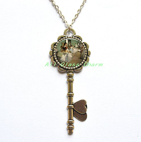 (Beautiful Key Necklace,Compass Key Pendant,THE DANCE CLASS by - Ballet Key Necklace - Classic Art Jewelry - Dancing,AS0129)