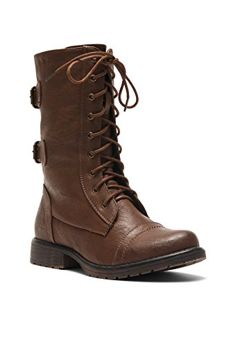 Brown Calf Boots Mid (Herstyle Florence2 Women's Military Lace up, Double Buckled, Middle Calf Combat Boots Brown 8.5)