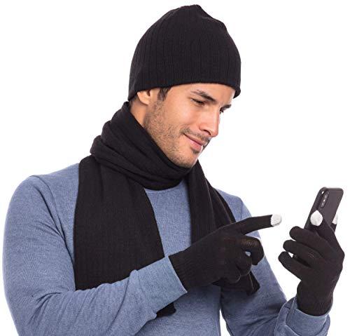 Casaba Winter 3 Piece Gift Set Beanie Hat Scarf Touchscreen Gloves Cable Knit Men Women