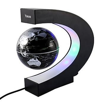 GOTOTOP C levitazione magnetica LED Globo Mappa, a forma di sfera galleggiante Globe World Map regalo con Luci LED, Regali Compleanno per Casa Ufficio Decorazione (nero)