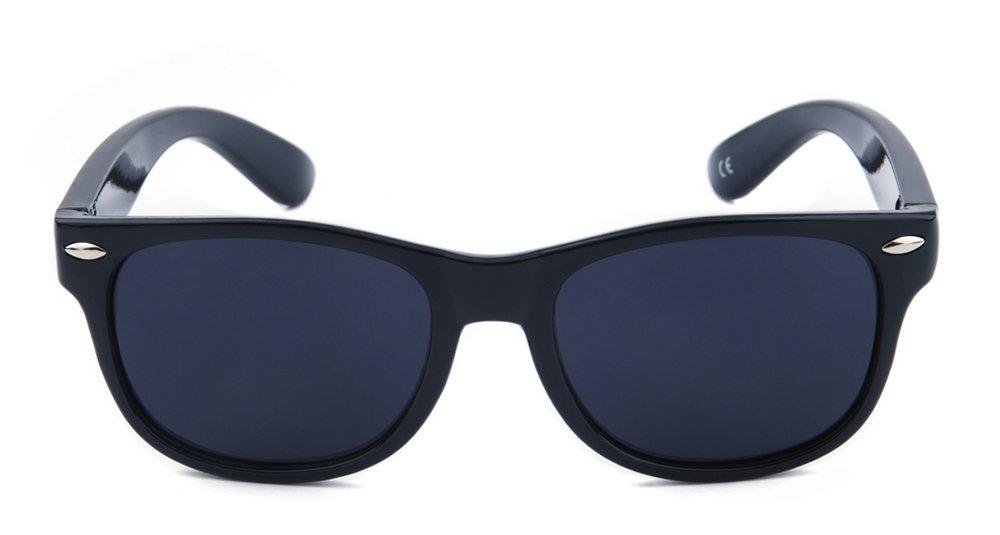 MommasJoy Wayfarer Silicone Flexible Kids Polarized Sunglasses for Boys Girls Children Age 1-10 Yr (Black-Black)