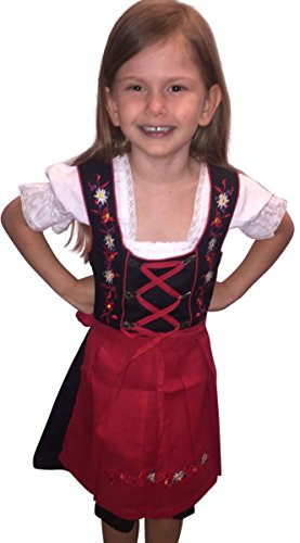 Dirndl World Childrens Dik03, German Bavarian 3 Piece Children Dirndls Dress for Oktoberfest, Blouse, Apron, Size 14
