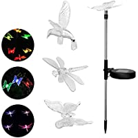 3Pcs Solar Powered Lawn Light Bird Butterfly Dragonfly Landscape Lighting Color Changing Stake Outdoor Solar Garden…