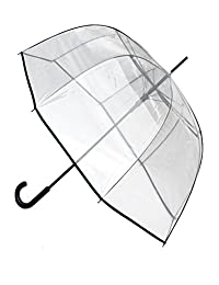 COLLAR AND CUFFS LONDON - Windproof EXTRA STRONG - StormDefender ClearVision Transparent Umbrella - HIGHLY ENGINEERED TO COMBAT INVERSION DAMAGE - Fiber Glass Ribs - Large Clear Dome Canopy Black Trim