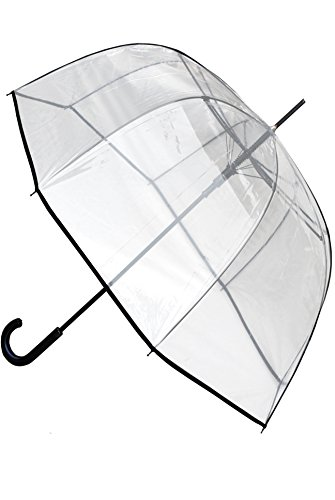 COLLAR AND CUFFS LONDON - Windproof EXTRA STRONG - StormDefender ClearVision Transparent Umbrella - HIGHLY ENGINEERED TO COMBAT INVERSION DAMAGE - Fibre Glass Ribs - Large Clear Dome Canopy Black -